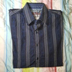 Robert Graham Blue Paisley Shirt XL